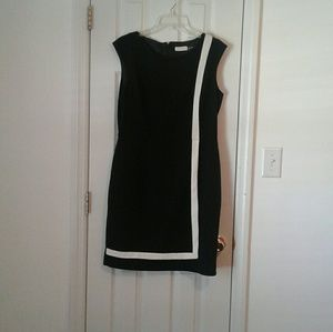 Calvin Klein black career dress with white accent